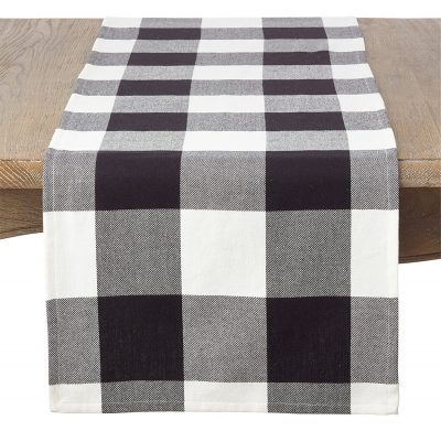 SARO LIFESTYLE Classic Buffalo Plaid Design Cotton Table Runner, 16″ x 72″, Black